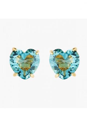 Les Néréides gold La Diamantine Acqua Azzura Heart Stud Earrings 75EDDAC2DA86C6GS_1