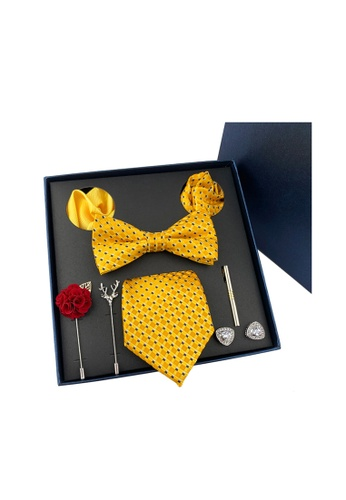 Kings Collection yellow Bow Tie, Pocket Square, Brooch, Tie Clip 8 Pieces Gift Set (KCBT2037) F1608AC3224A0AGS_1
