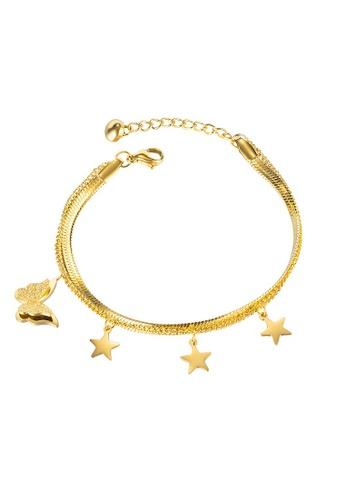 ADORA gold Stainless Steel Butterfly Charm Bracelet 5C8B1AC85BAA29GS_1
