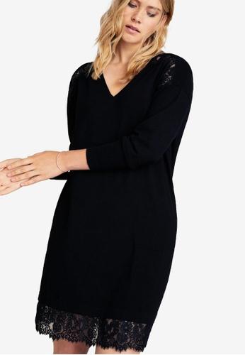 Violeta by MANGO black Plus Size Lace Panel Dress 23A09AA719312AGS_1