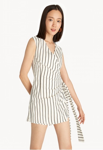 c601f3afe2d1 Shop Pomelo Striped Fold Over Romper - White Online on ZALORA Philippines