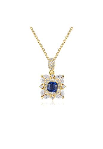 SUNRAIS gold Premium Silver S925 Golden Flower Necklace D77E3AC9526930GS_1