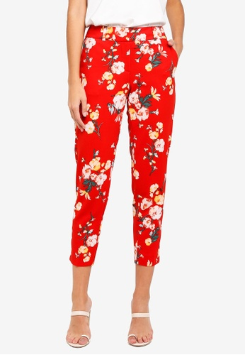 Dorothy Perkins red Red Floral Textured Trousers A65ACAAD4B3470GS_1