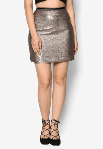 Miss Selfridge gold Gold Sequin Skirt MI665AA86FJHMY_1
