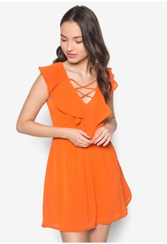 Love Ruffle Neckline Fit&Flare Dress