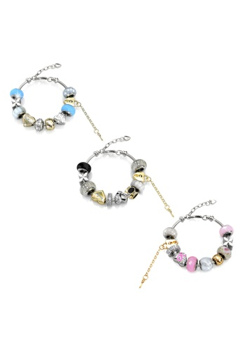 Her Jewellery white and pink and blue Mylady Charm Bracelet Combo (Blue + Pink + White) - Made with Premium grade crystals from Austria 5DBD8ACE46732CGS_1