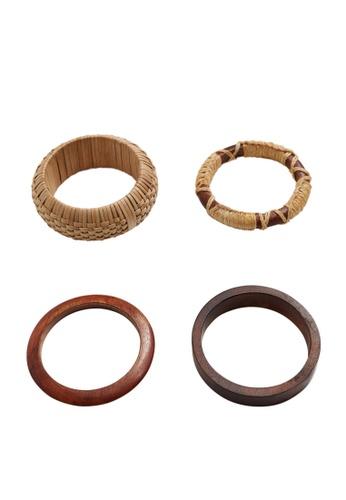 Violeta by MANGO brown 4-Pack Wooden Bracelets D9D24AC4D9D848GS_1
