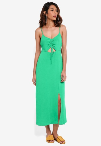 TOPSHOP green Ruched Front Molly Midi Slip Dress 45E2BAA63D4951GS_1