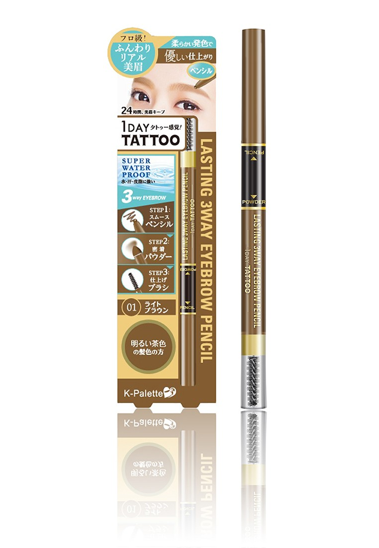 1DAY Tattoo Lasting 3Way Eyebrow Pencil in Light Brown