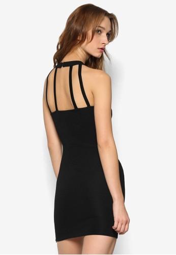 蕾esprit outlet 台中絲拼接露背貼身連身裙, 服飾, 洋裝