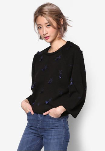 流蘇星星針織長袖衫, 服飾zalora退貨, 外套