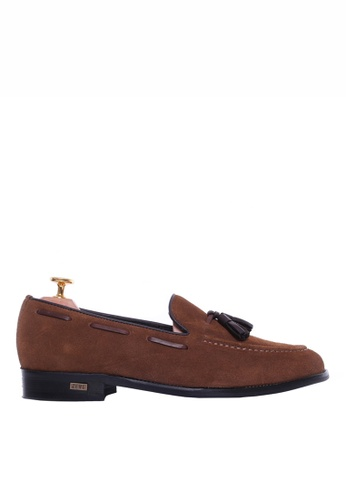 Zeve Shoes brown Zeve Shoes Tassel Loafer - Suede Khaki D21BBSHEE02D34GS_1