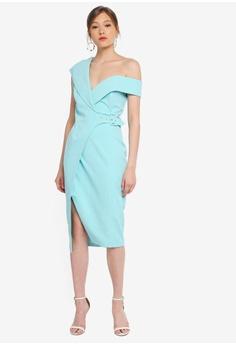 f1b9192cb2 Lavish Alice green Off Shoulder Buckle Detail Wrap Dress 76037AAFAB0C84GS_1