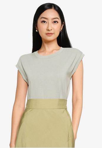 GLOBAL WORK green Knit T-Shirt C96CAAA366A420GS_1