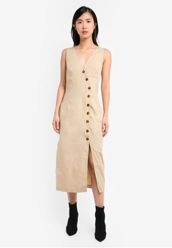 TOPSHOP brown Poplin Displaced Wrap Dress TO412AA0SRR8MY_1