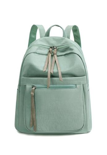 Lara blue Women's Minimalist Plain Canvas Zipper Leisure Backpack - Blue E87E4AC13E5B8BGS_1