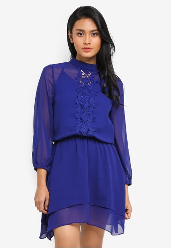 Preen & Proper blue Long Sleeve Blouson Sheer Dress 18DE3AAE84D36DGS_1