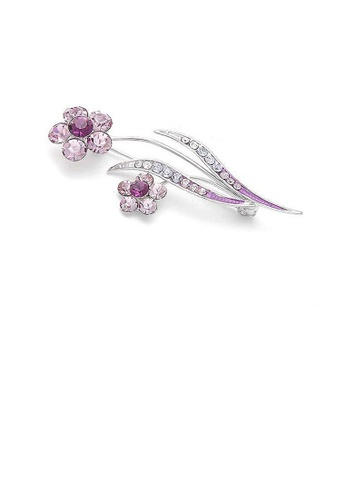 Glamorousky silver Flower and Leaves Brooch with Purple and Silver Austrian Element Crystals 3E899ACCFA6798GS_1