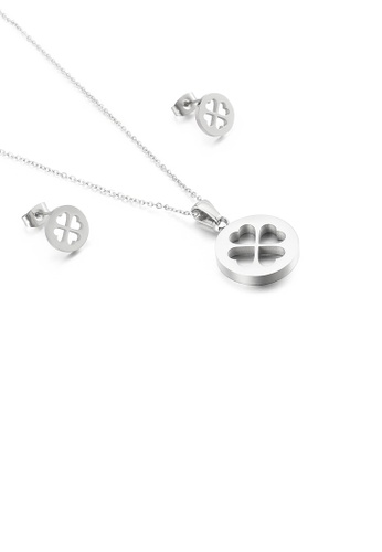 Glamorousky silver Simple Temperament Round Four-leafed Clover 316L Stainless Steel Necklace and Stud Earring Set A93ADACF4681A7GS_1