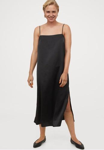 H&M black Satin Slip Dress F85B6AA7008267GS_1