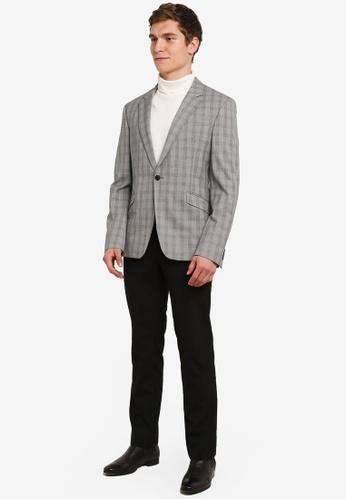 de93fda45a90a6 Buy Topman Grey And Black Check Muscle Fit Suit Jacket Online on ZALORA  Singapore