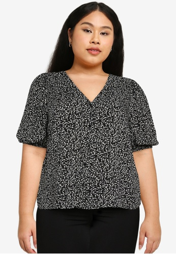 Only CARMAKOMA black Plus Size Lolli Half Sleeves V-neck Blouse C844EAAF8651FAGS_1