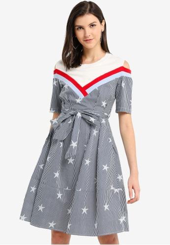 Hopeshow multi Off Shoulder Striped Midi Dress 1BB5CAAEE11C74GS_1