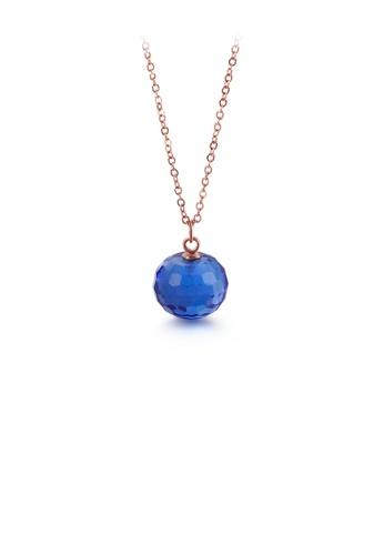 Glamorousky 藍色 簡約時尚鍍玫瑰金幾何圓形藍色鋯石吊墜配316L鋼項鏈 291A5AC38F73C2GS_1