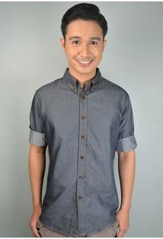 Chambray Cotton Button-down Shirt