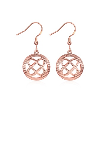 Glamorousky silver Romantic Elegant Fashion Rose Gold Plated Hollow Out Round Earrings 08455AC2F5B01BGS_1