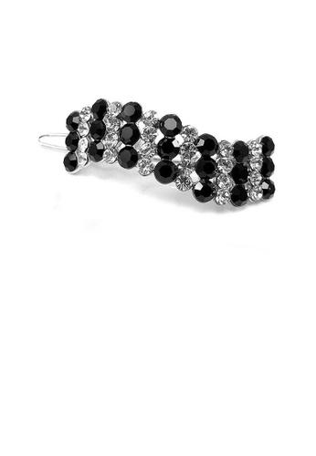 Glamorousky silver Elegant Barrette with Black and Silver Austrian Element Crystal FEA94AC67F53DAGS_1