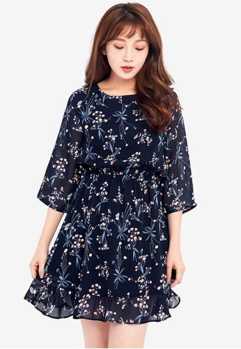 Tokichoi navy Floral Printed Trumpet Dress with Cut Out Back 1DA7BAA1C5554BGS_1