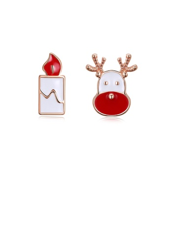 Glamorousky silver Fashion Romantic Plated Rose Gold Christmas Candle Elk Stud Earrings 56948AC0606DE0GS_1