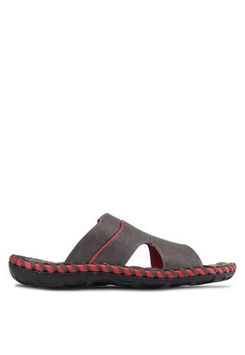 Sammoni 灰色 鏤空寬帶編織涼鞋 SA969SH00SLBMY_1