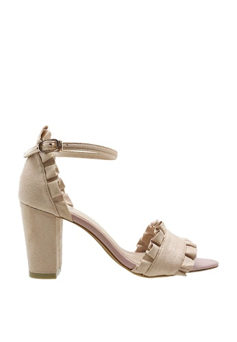 CO BLANC pink CO BLANC Ruffled Ankle Strap Heel Sandals BC063SH0C26354GS_1