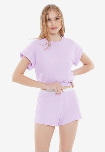 Trendyol 紫色 短袖睡衣組 B9B9AAAA982FCCGS_1