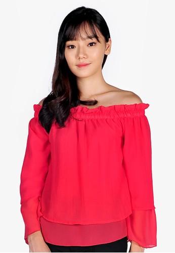 SJO & SIMPAPLY pink SJO's Shoulder Slash Salem Women's Blouse CFB8AAA65E6294GS_1