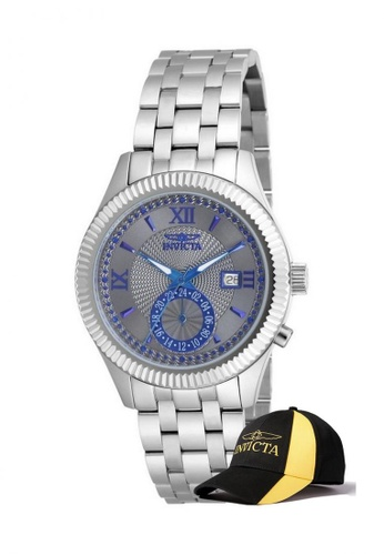 INVICTA silver Invicta Specialty Men 40mm Case Stainless Steel Strap Dial Quartz Watch 18100 with  Cap 11113AC230F523GS_1