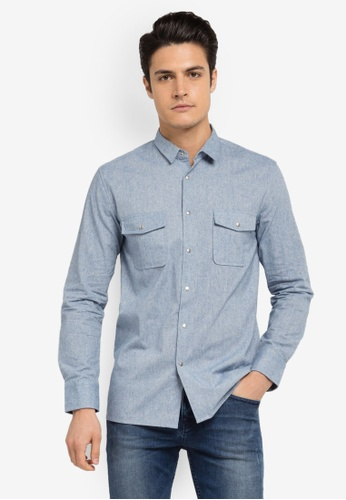 ZALORA blue Collar Detail Chambray Long Sleeve Shirt 159A9AA7CC1170GS_1