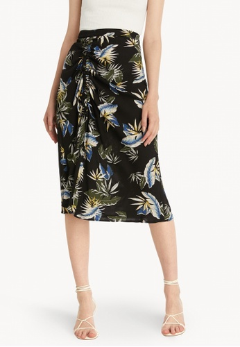 Pomelo black Midi Ruched Front Skirt - Black F1DFAAACACF817GS_1