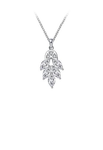 Glamorousky white Fashion Elegant Leaf Pendant with White Austrian Element Crystal and Necklace D4295AC438ED1DGS_1