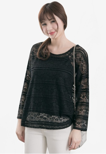 Tokichoi black Sheer Lace Top TO550AA27WXGMY_1