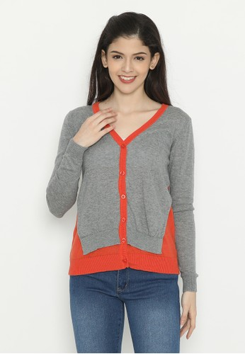 Mobile Power grey Basic Cardigan Grey Orange Mobile Power Ladies - D20304 3688BAAD44A576GS_1