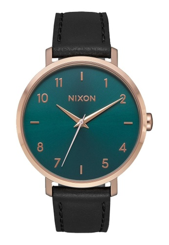 Nixon gold Arrow Leather 38mm - Rose Gold/Emerald  (A10912805) 87C46AC560B20BGS_1