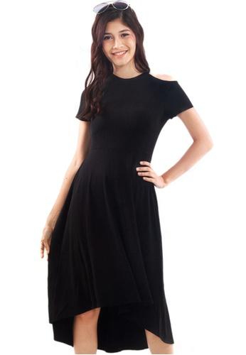 Kitschen black Shoulder Cut Out Midi Dress 708BAAAA053EF0GS_1