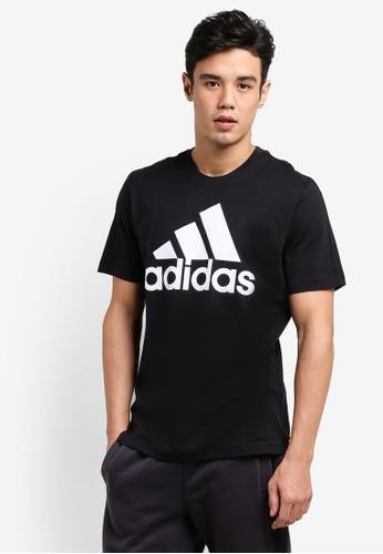 adidas black adidas ess linear tee AD372AA56BPFMY_1