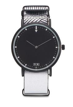 【ZALORA】 線條印花紡織帶圓框手錶
