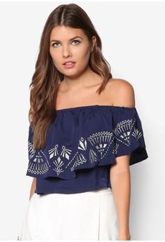 Tribal Embroidered Off Shoulder Top
