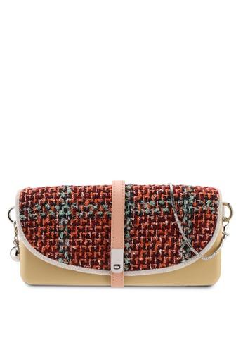 Hoola Hoola brown Camilla Clutch - Hazelnut Red Tweed with Snake Chain DD673ACC752964GS_1