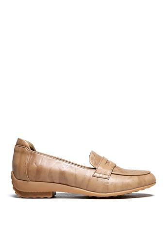 messe 米褐色 優雅仕女氣質柔軟真牛皮輕盈舒適樂福鞋 ME601SH09Q4YTW_1